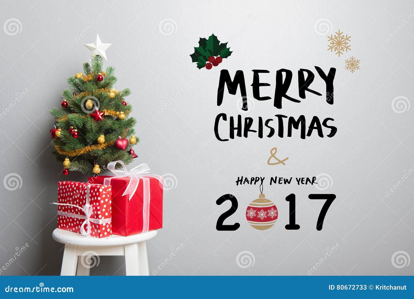 Buon Natale Del C Testo.Testo Del Buon Anno E Di Buon Natale 2017 Sulla Parete Immagine