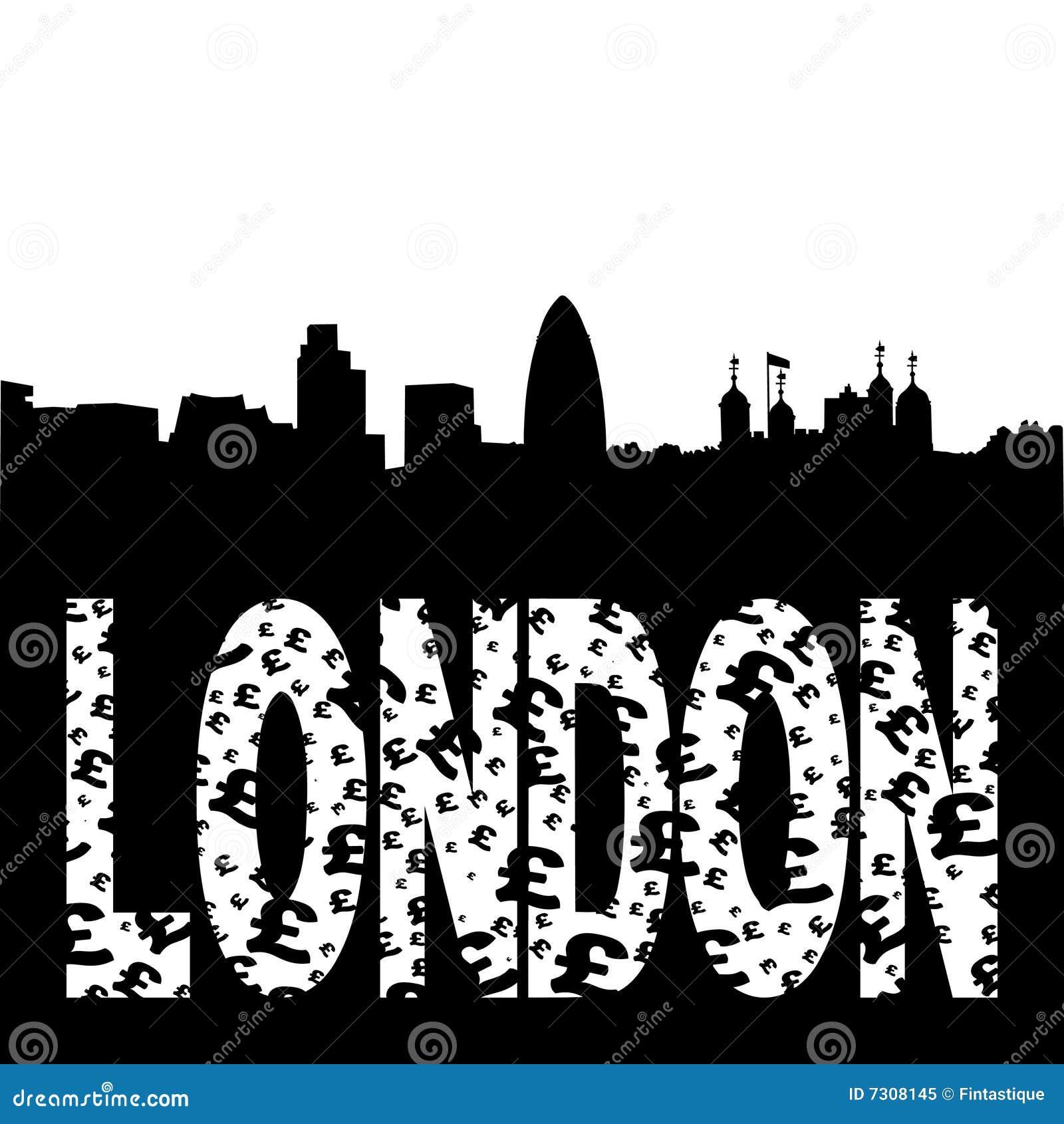 Testo del grunge dell orizzonte di Londra