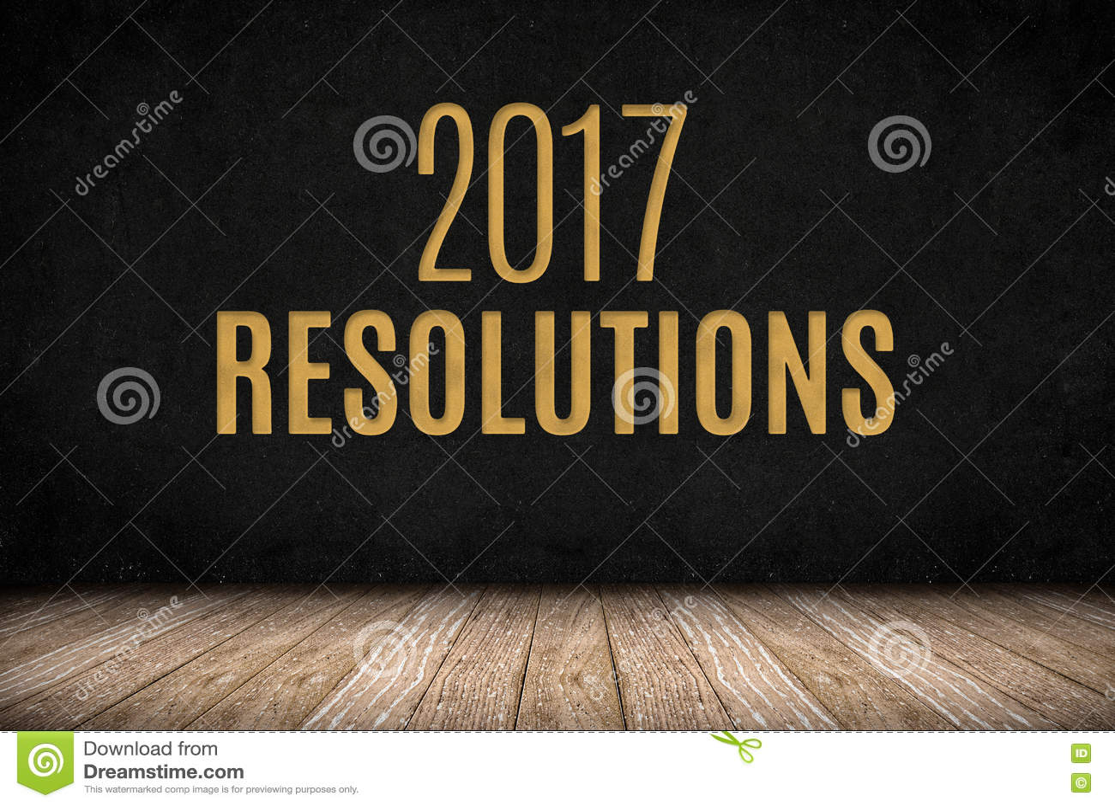 Testo dell'oro di 2017 risoluzioni sulla parete della lavagna sul ...