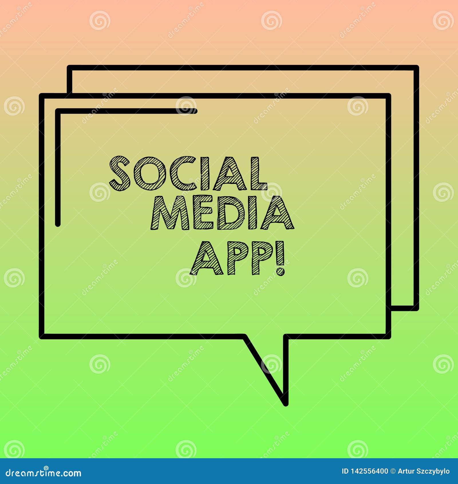 Testo della scrittura che scrive il App sociale di media Creazione di significato di concetto e dividere gli interessi di carrier