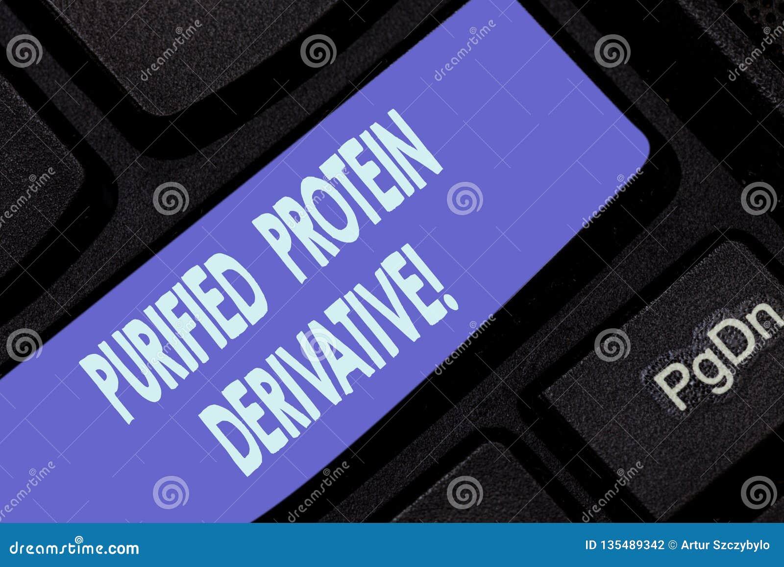 Testo della scrittura che scrive il derivato purificato della proteina Concetto che significa l estratto di tastiera di mycobacte