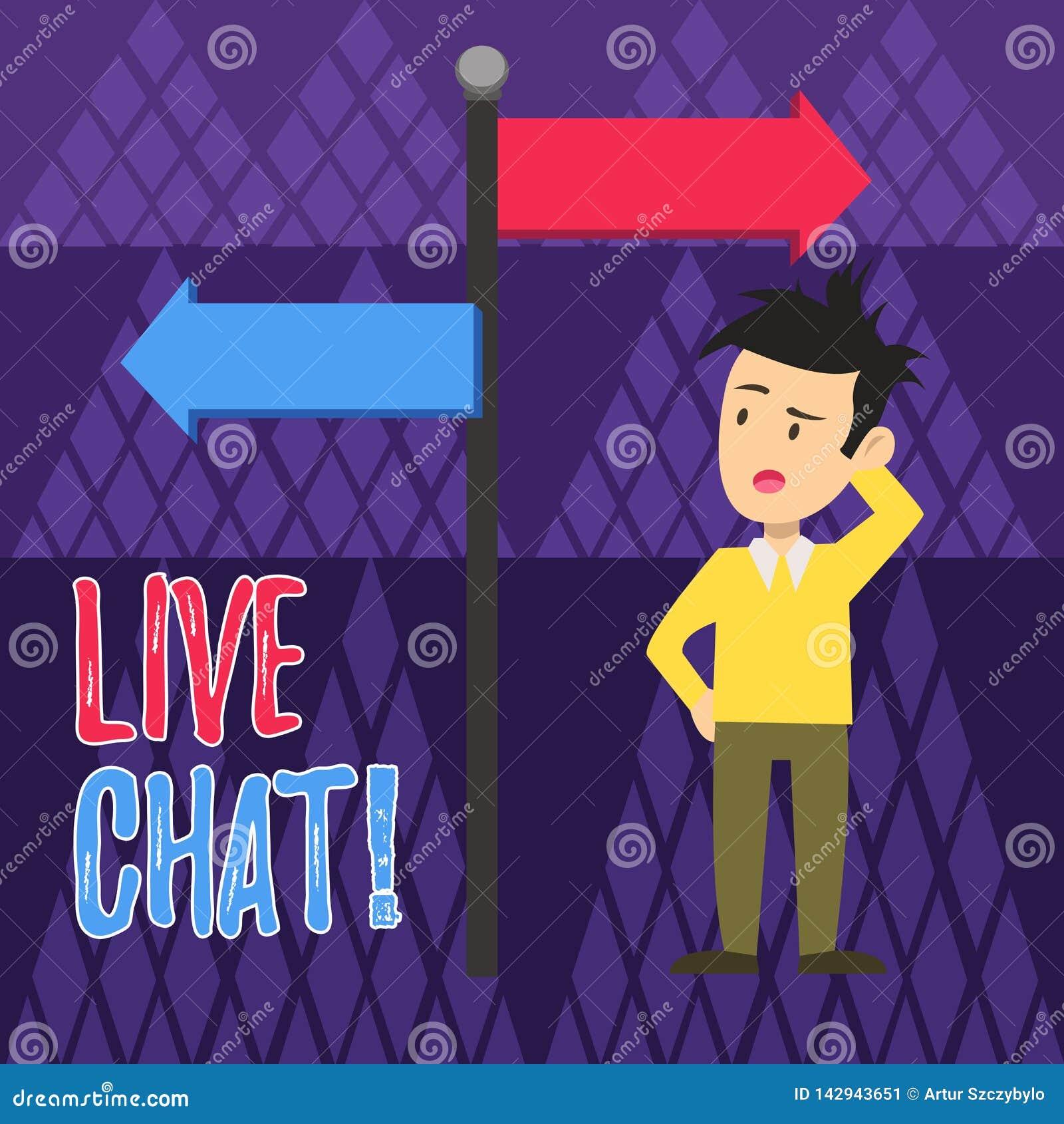 Testo della scrittura che scrive Live Chat Concetto che significa web service che permette che i commerci o gli amici comunichino