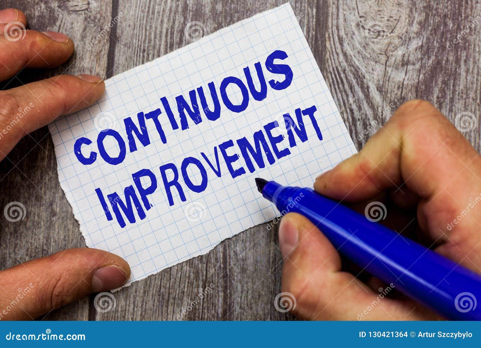 Testo della scrittura che scrive miglioramento continuo Concetto che significa sforzo in corso per avanzare i cambiamenti senza f