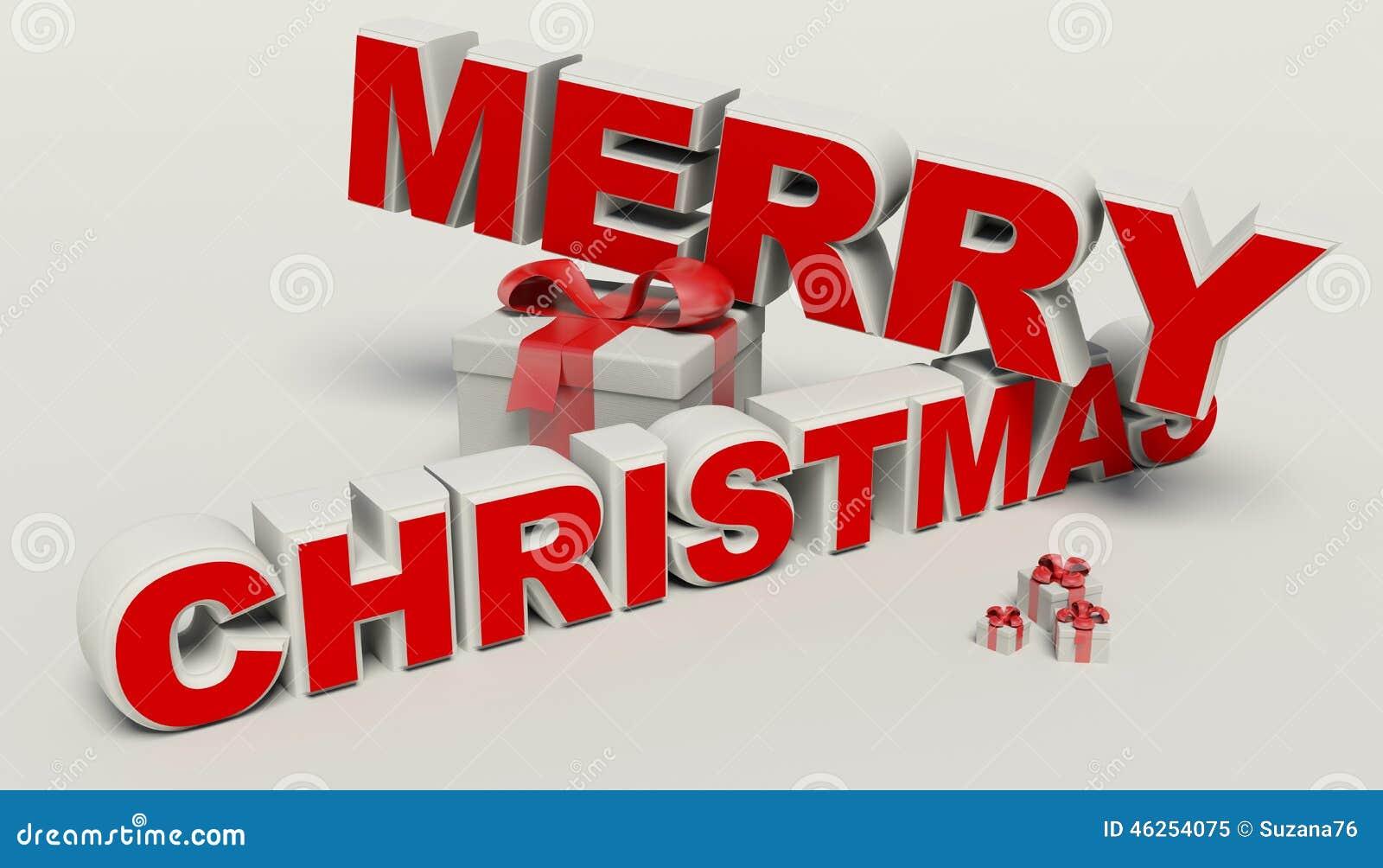 Buon Natale 3d.Testo Di Buon Natale 3d Alta Risoluzione Del Regalo Illustrazione