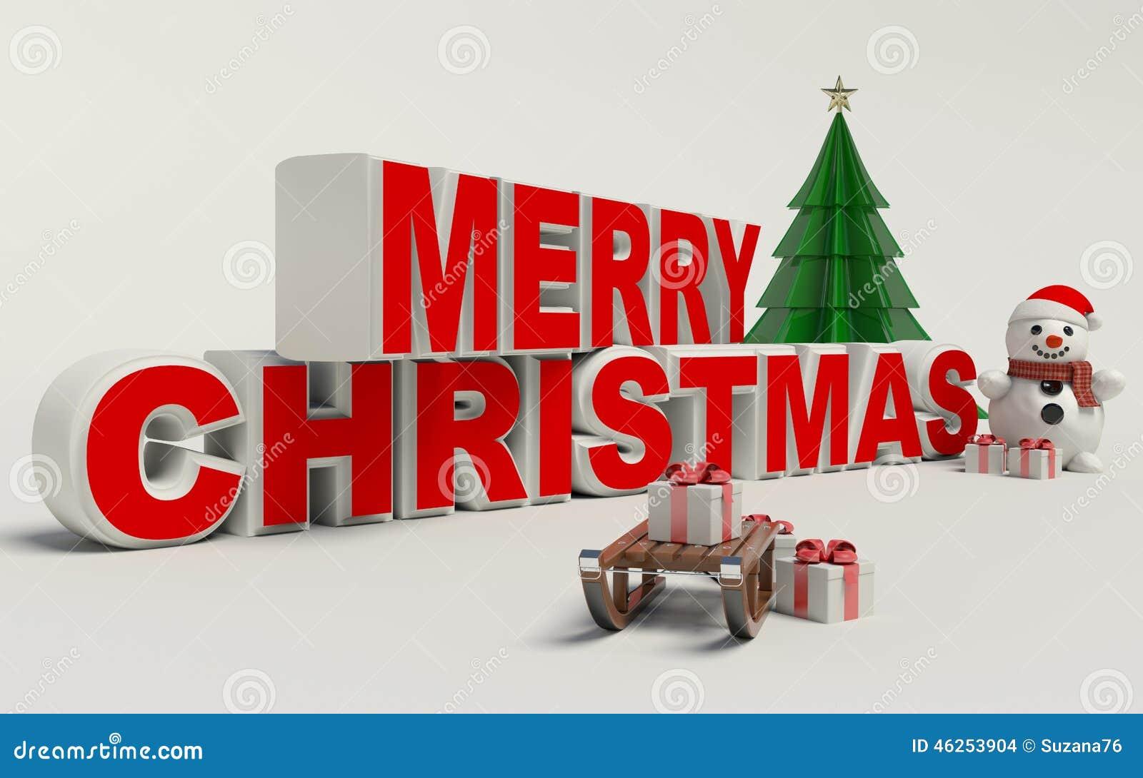 Buon Natale 3d.Testo Di Buon Natale 3d Pupazzo Di Neve Slitta Ed Alta Risoluzione