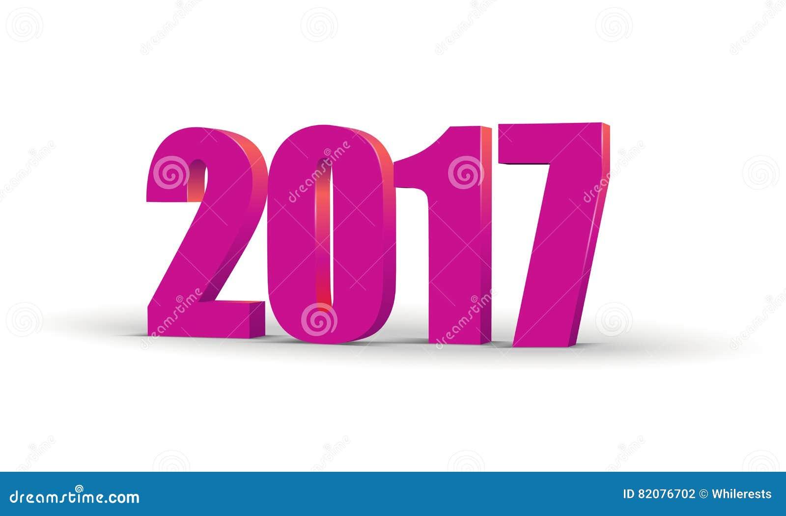Testo 2017 di celebrazione 3d del buon anno Modello del calendario di numero di rosso 2017 Carattere di carta variopinto e volume