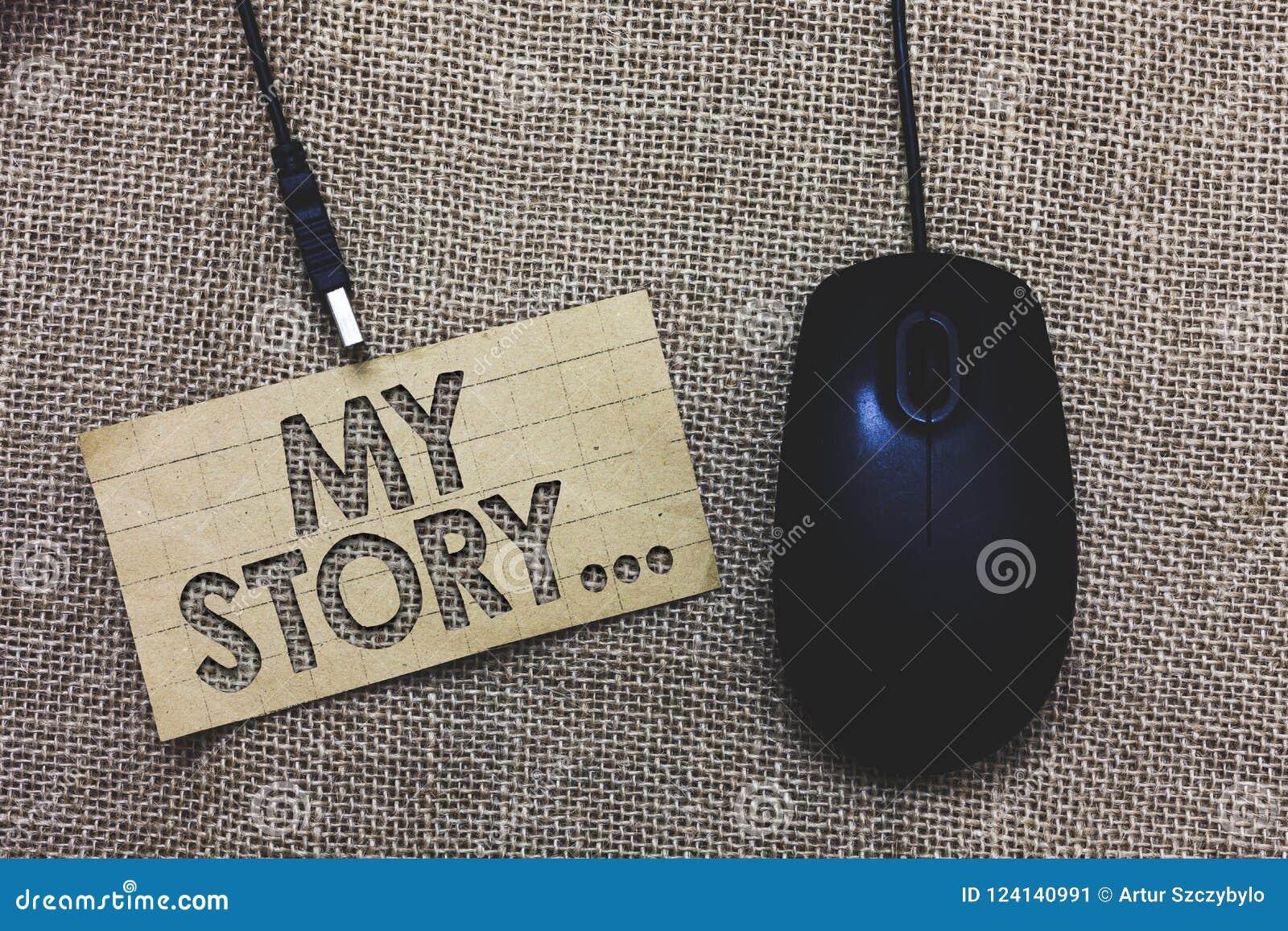 Testo di scrittura di parola la mia storia Concetto di affari per dire qualcuno o i lettori circa come avete vissuto il vostro co