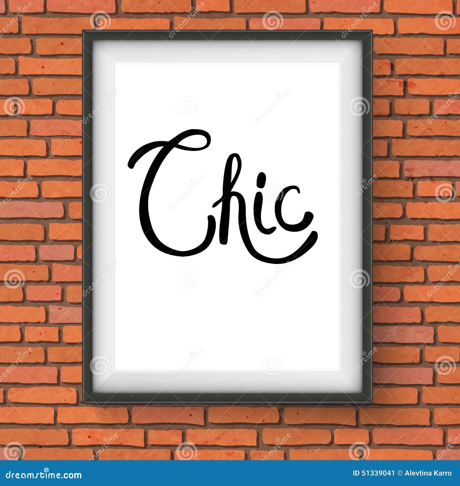 Testo elegante nel telaio bianco che appende sul muro di mattoni