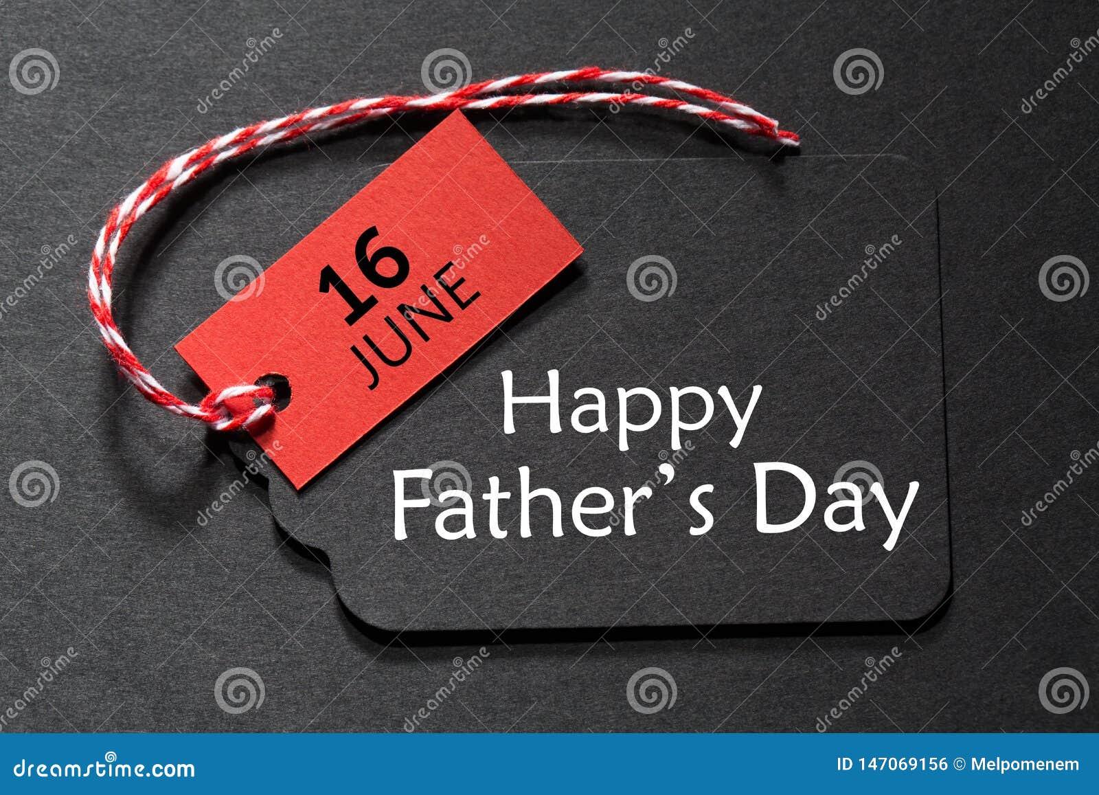 Testo felice di giorno del ` s del padre su un etichetta nera
