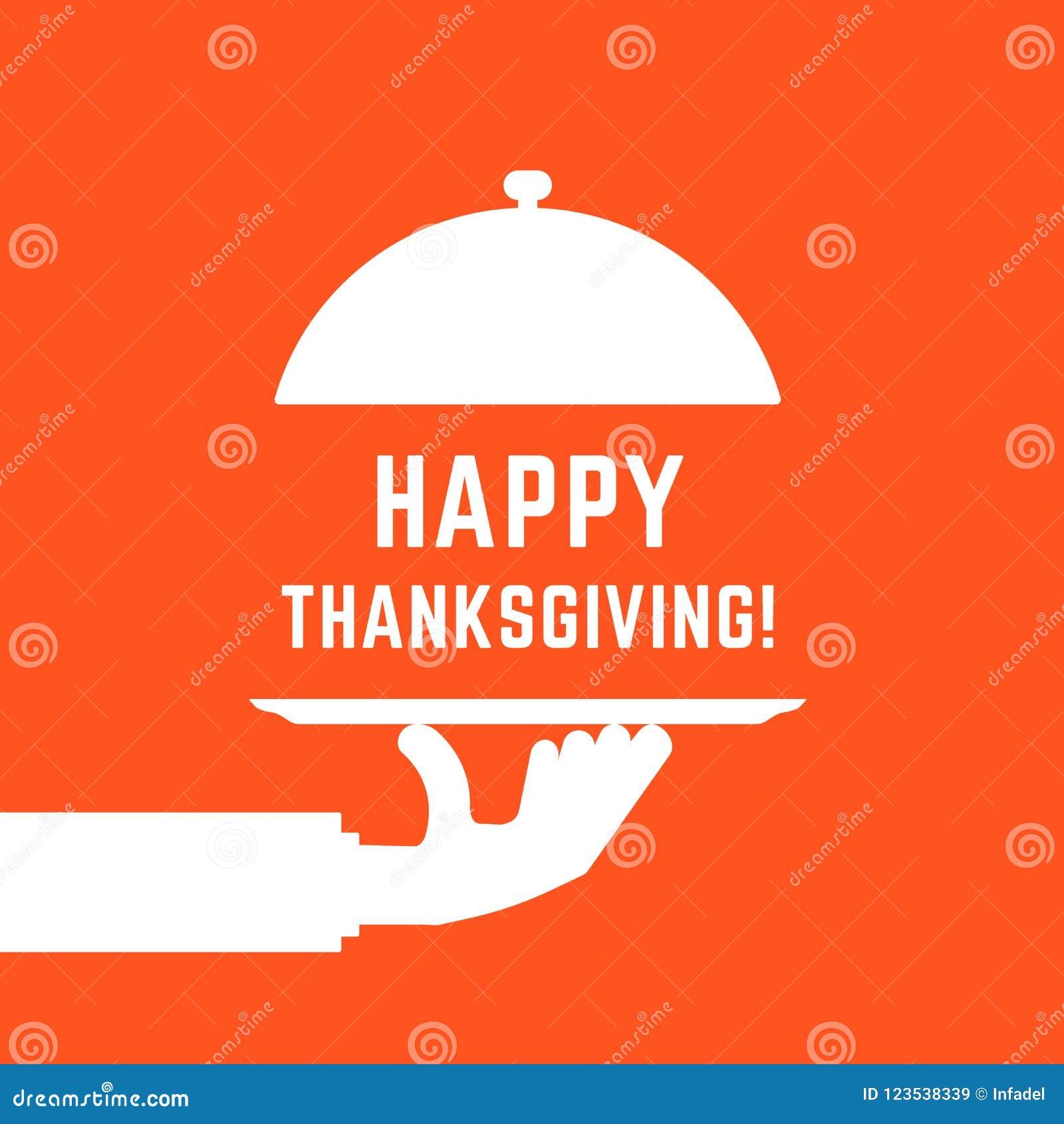 Testo felice di ringraziamento con la mano bianca del servizio