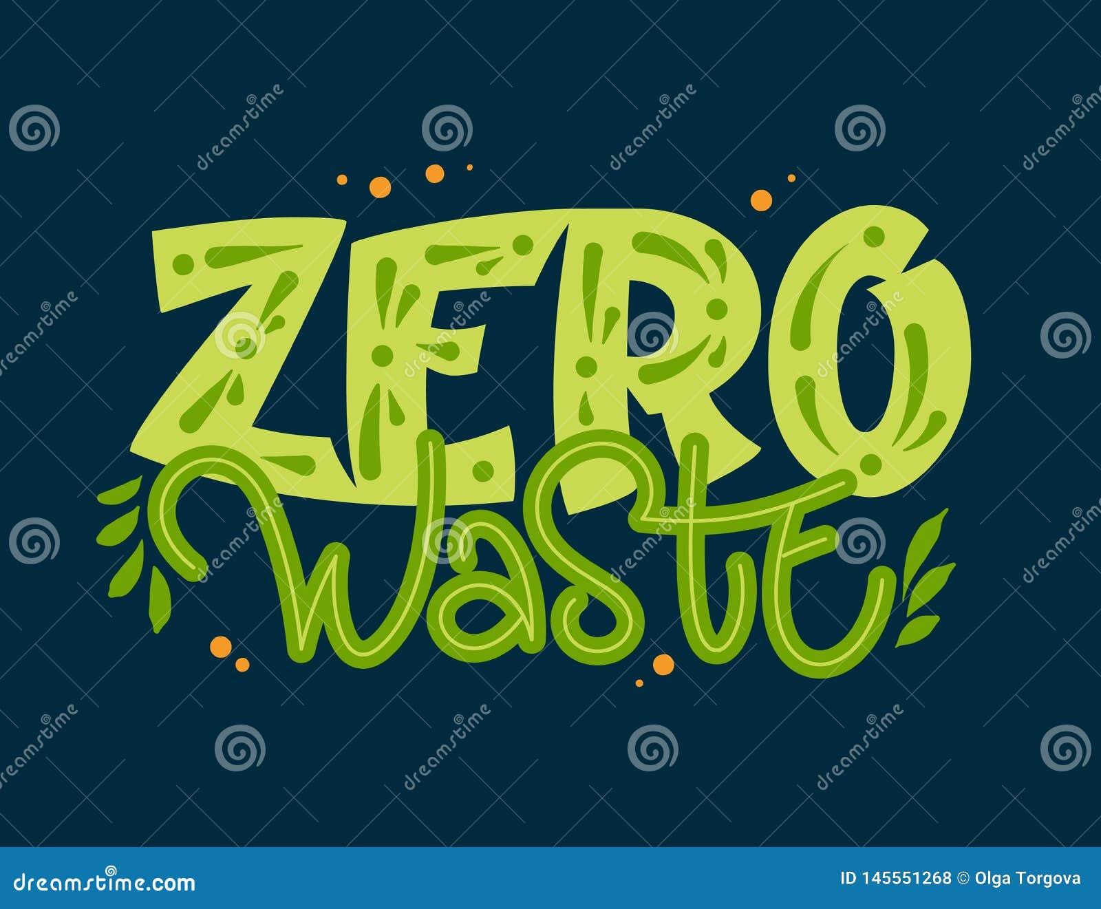 Testo residuo zero - frase dell iscrizione di tiraggio della mano di colore di Eco