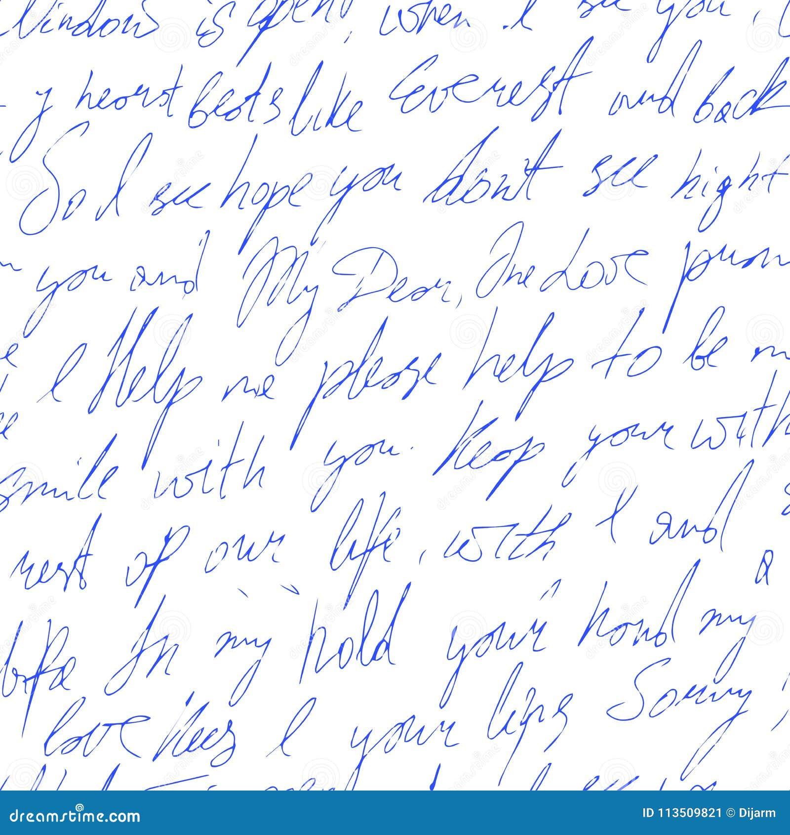 Testo Scritto A Mano Con Le Parole Di Amore Reticolo Senza Giunte