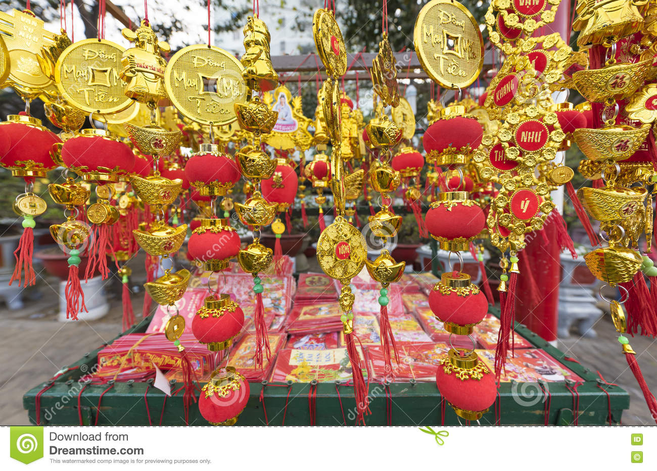 Tet Vietnamese New Year Gold Red Decorations Editorial