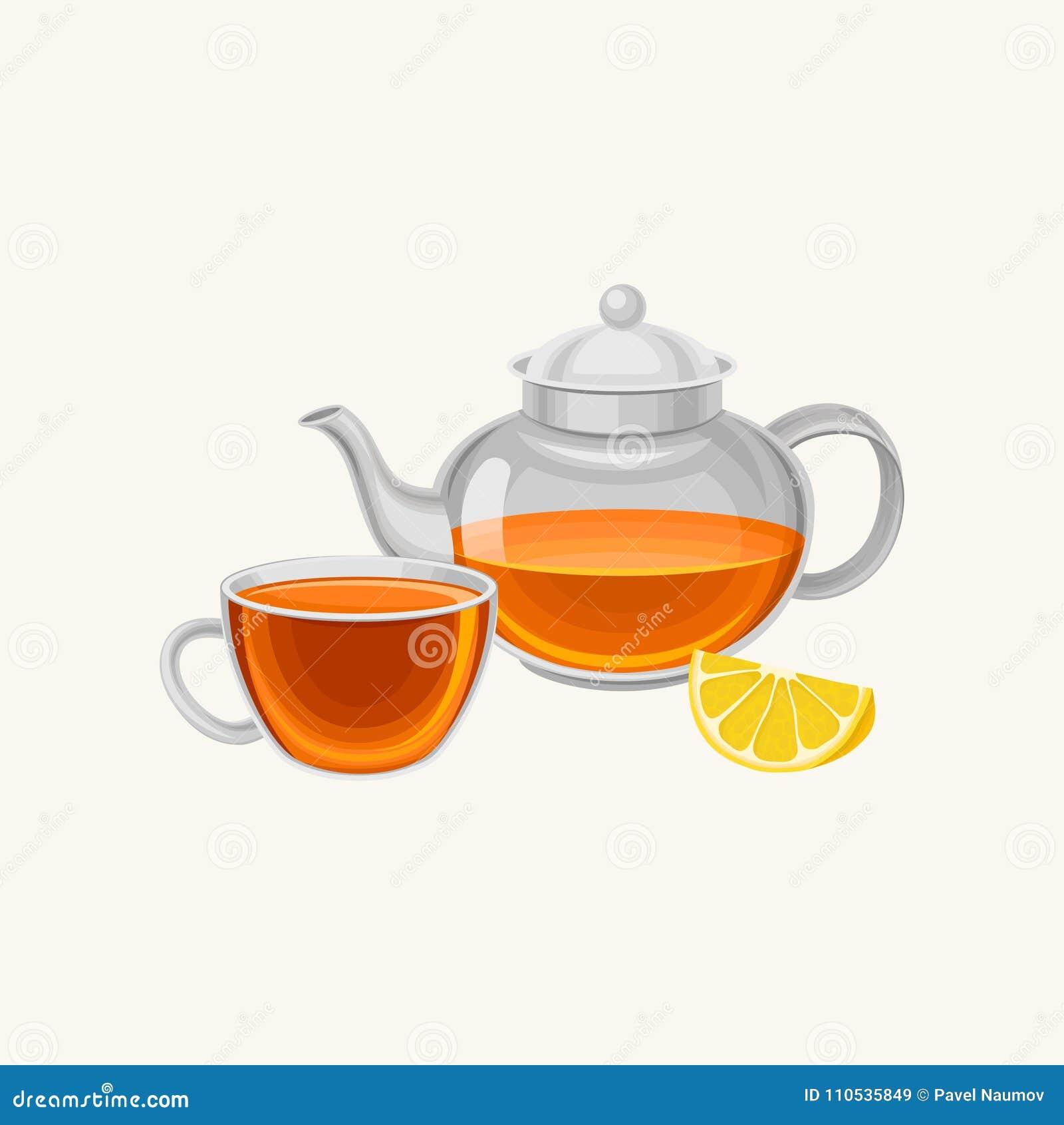Tetera y taza de cristal de la historieta con el té preparado fresco, rebanada de limón dulce Concepto del desayuno Diseño plano