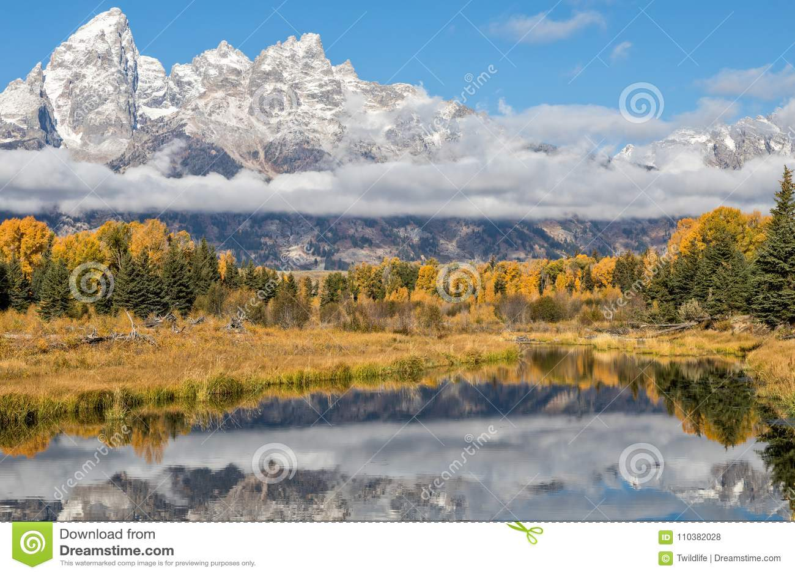 Teton Autumn Reflection Landscape scénique