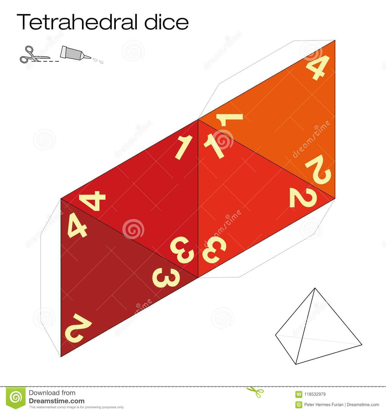 Tetrahedral Dice Platonic Solid Template Stock Vector - Illustration ...