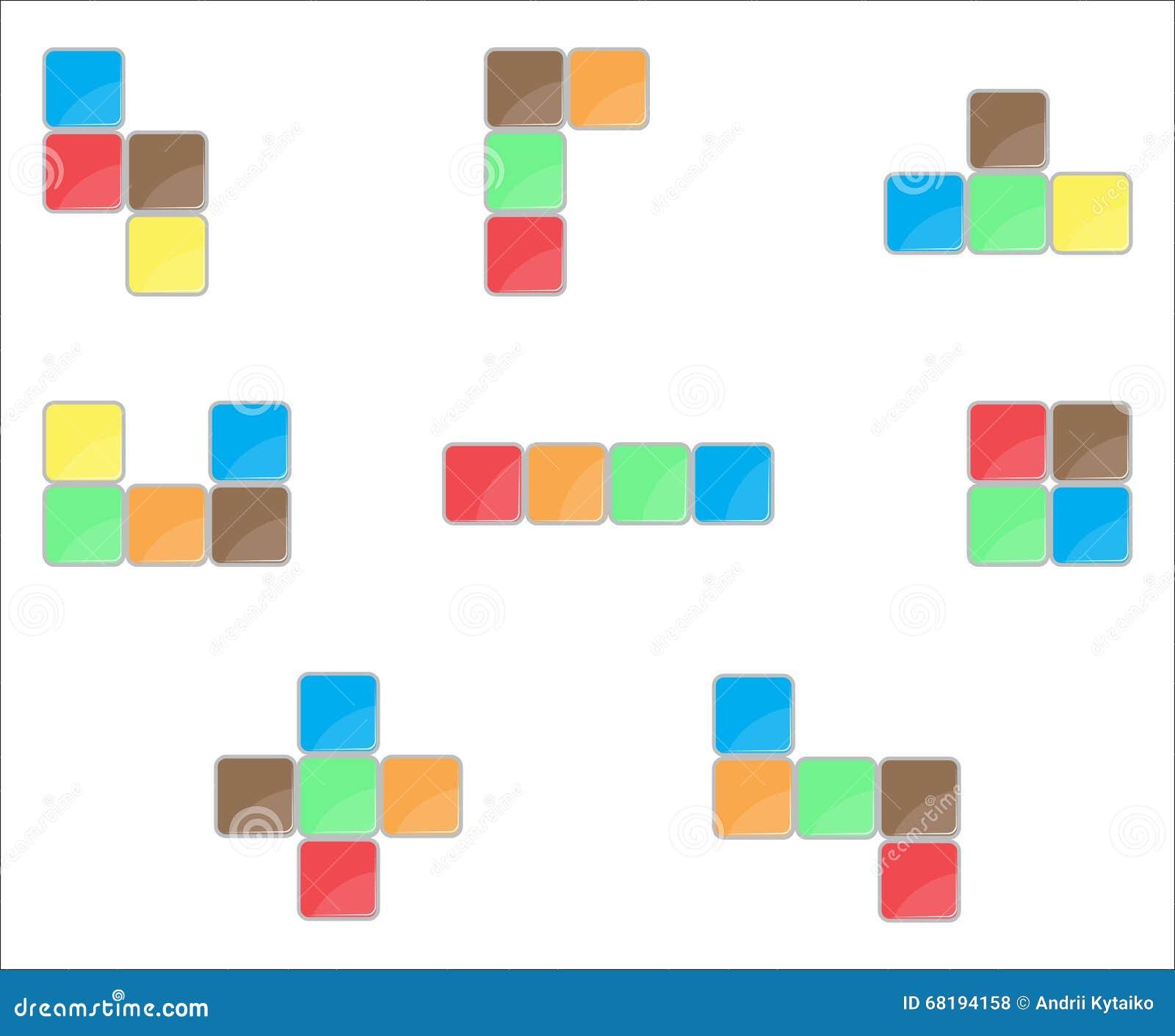 Tetris element set color design stock vector illustration of cube download comp ccuart Gallery
