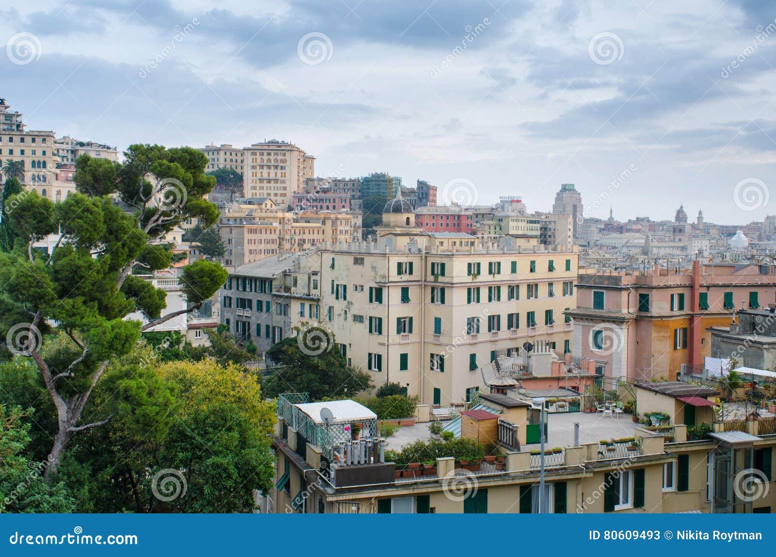 Tetti di Genova immagine stock. Immagine di genova, albero - 80609493