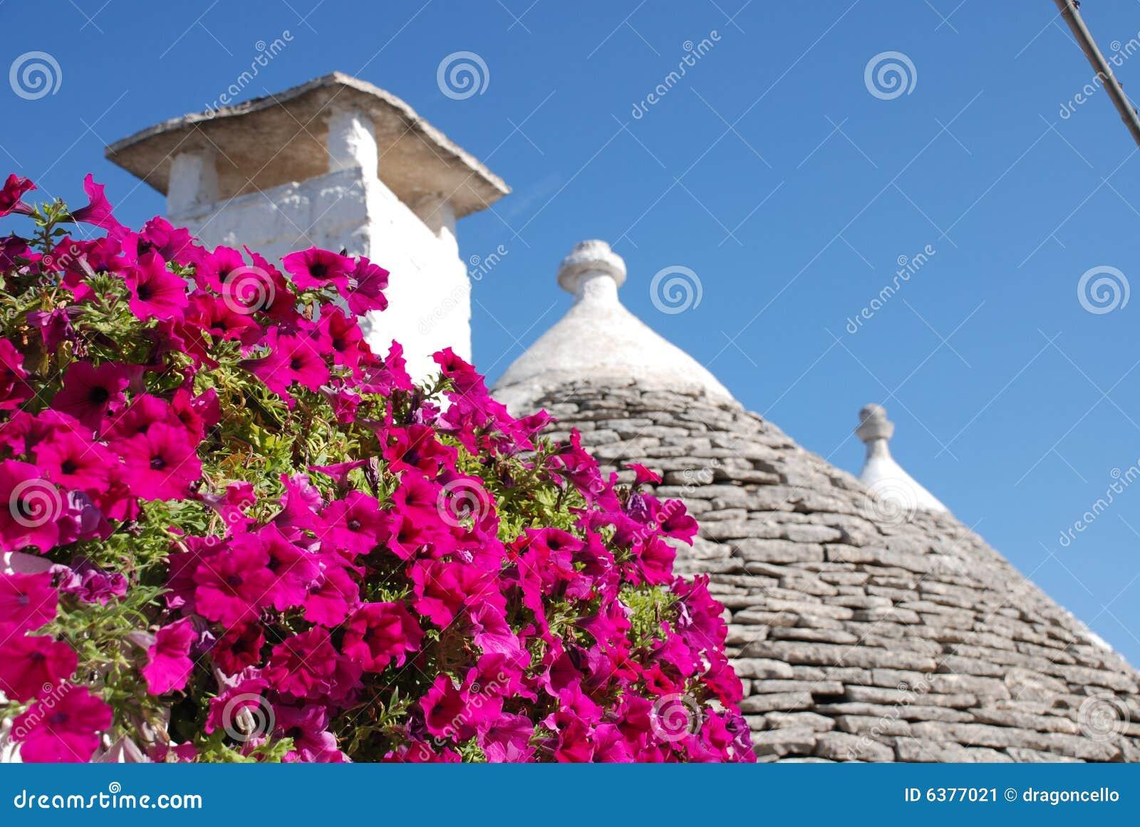 Tetto di Trullo con i fiori 1 di colore rosa