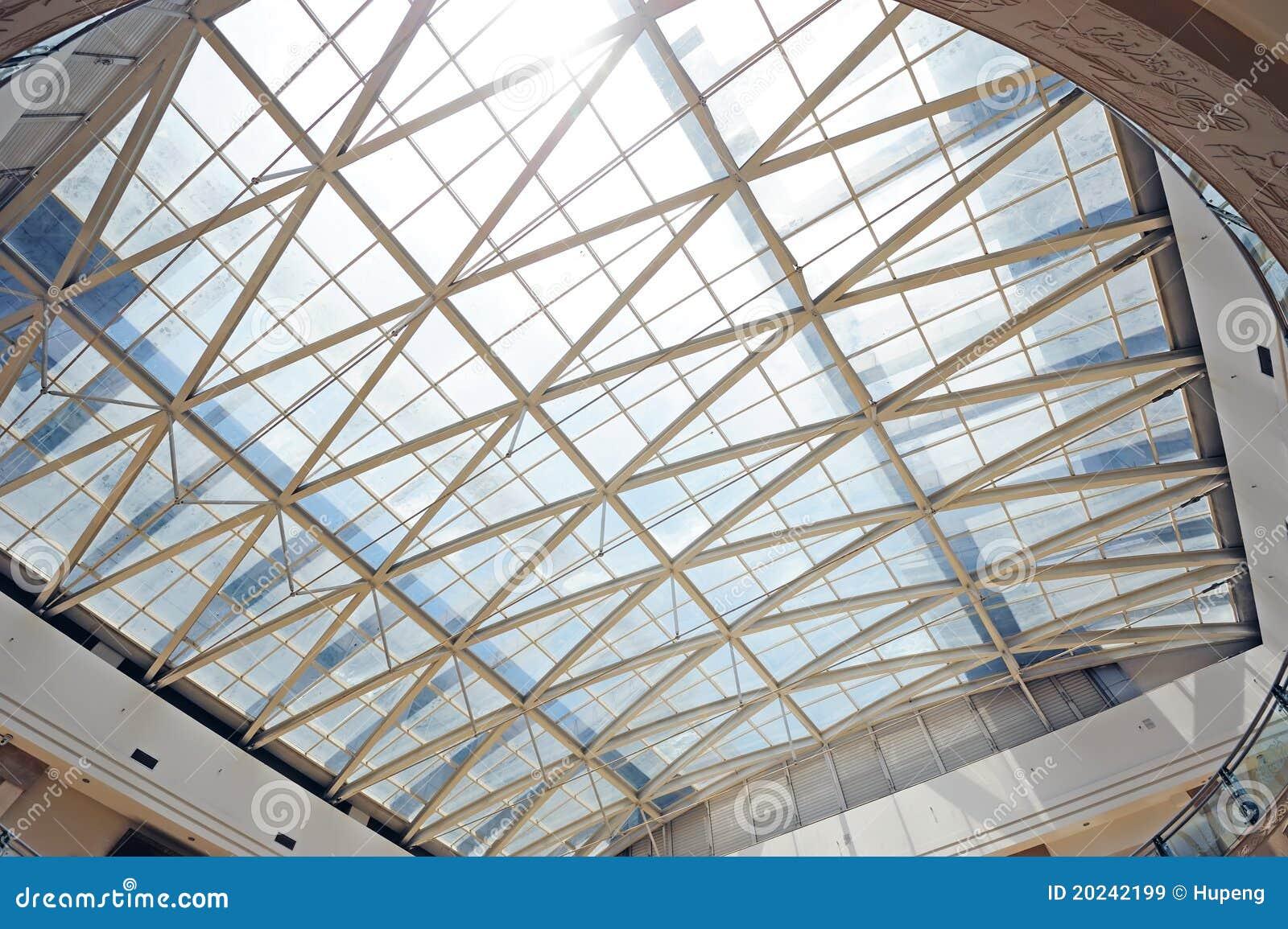 Tetto di vetro e della struttura d 39 acciaio immagine stock for Tetto in vetro prezzi