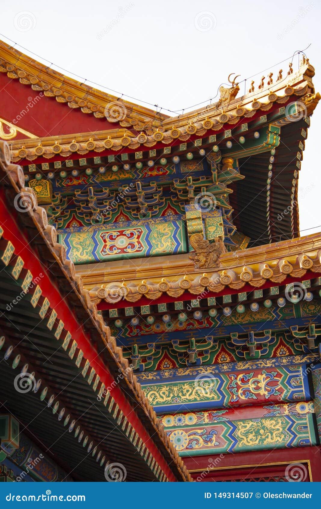 Tetto elaborato variopinto impressionante dalla Citt? proibita a Pechino, Cina I colori dei tetti, dei materiali di tetto e del r