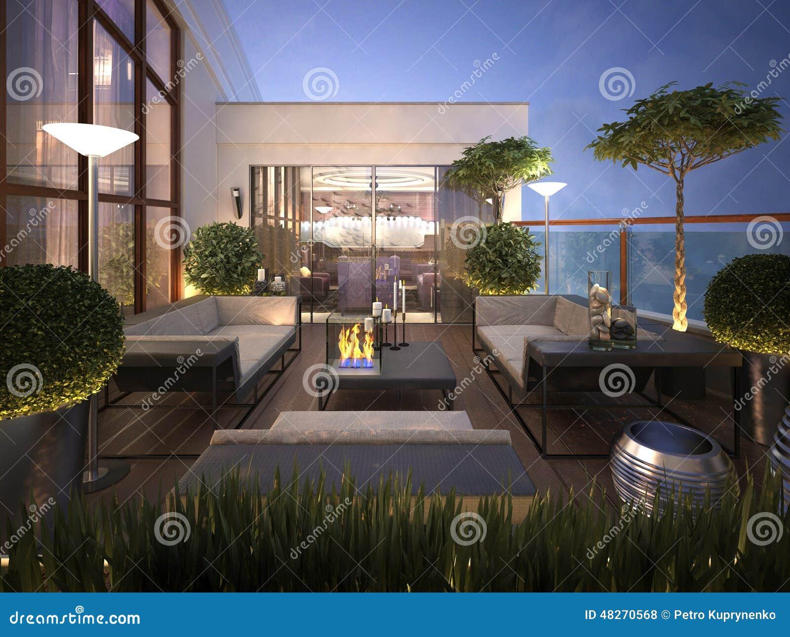Tetto - Terrazzo In Uno Stile Moderno Illustrazione di Stock ...