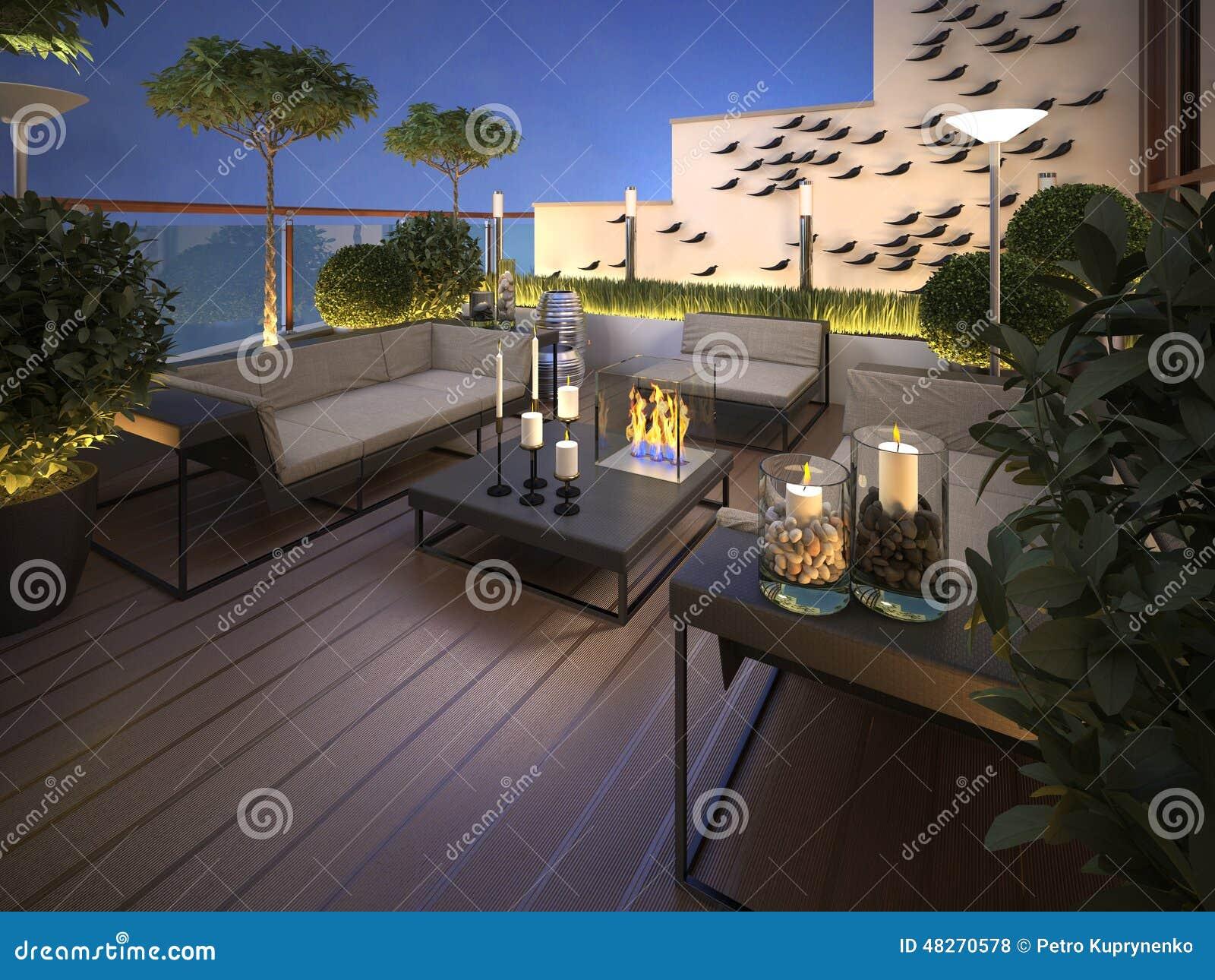 Tetto terrazzo in uno stile moderno illustrazione di for Tetto in stile ranch