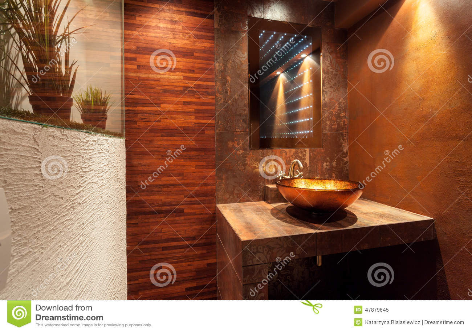 Teures Badezimmer Mit Goldener Wanne Stockbild - Bild von