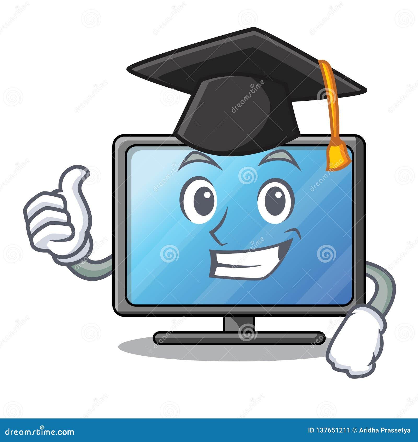 Tevê do lcd da graduação acima da tabela de madeira dos desenhos animados