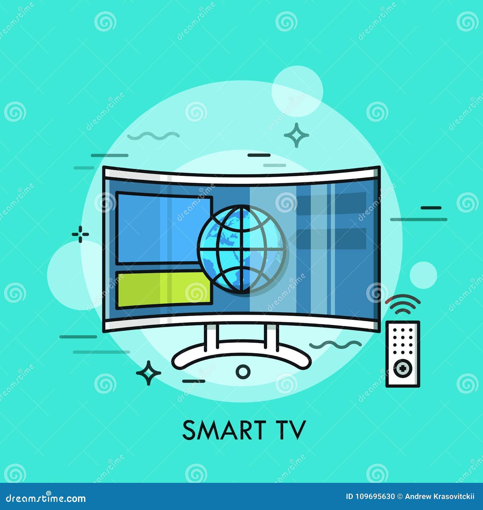 Tevê híbrida ou esperta que indica o índice do Web site Conceito do aparelho de televisão com conexão a Internet, moderno