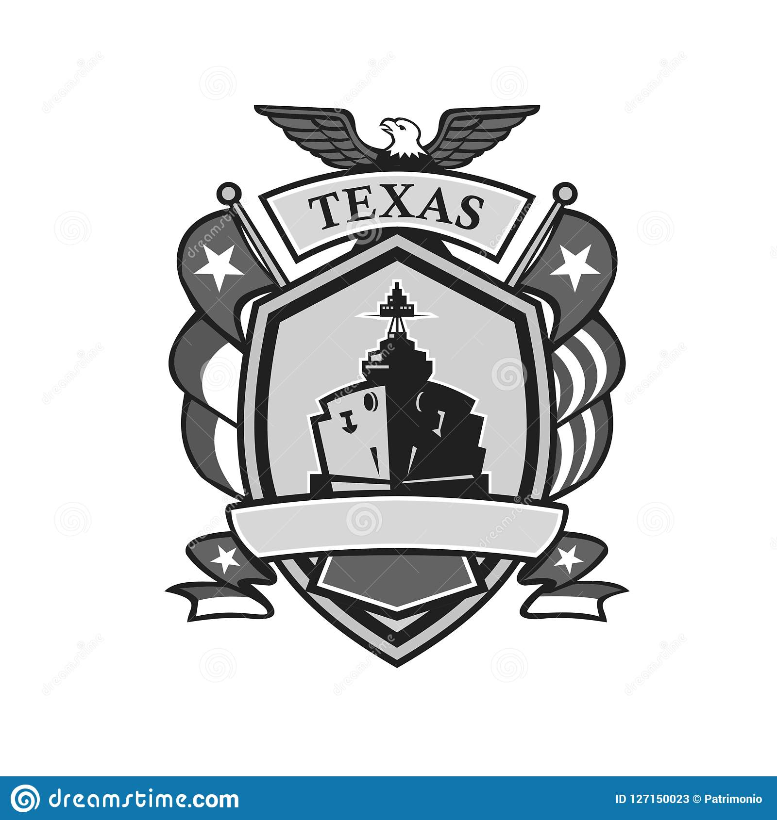 Texas Battleship Badge Grayscale