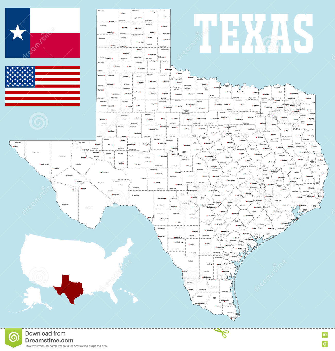 Map Of Texas With Counties.Texas County Map Stock Vector Illustration Of Lubbock 78880493