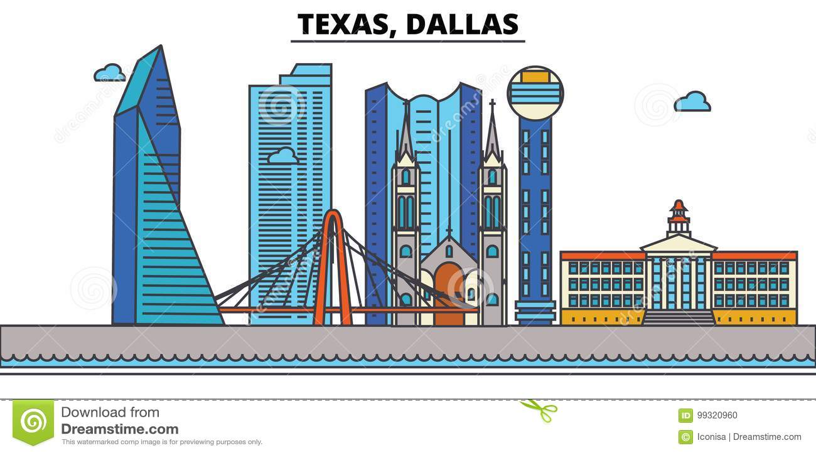 Dallas Skyline Paint Splatter Color Vector Illustration