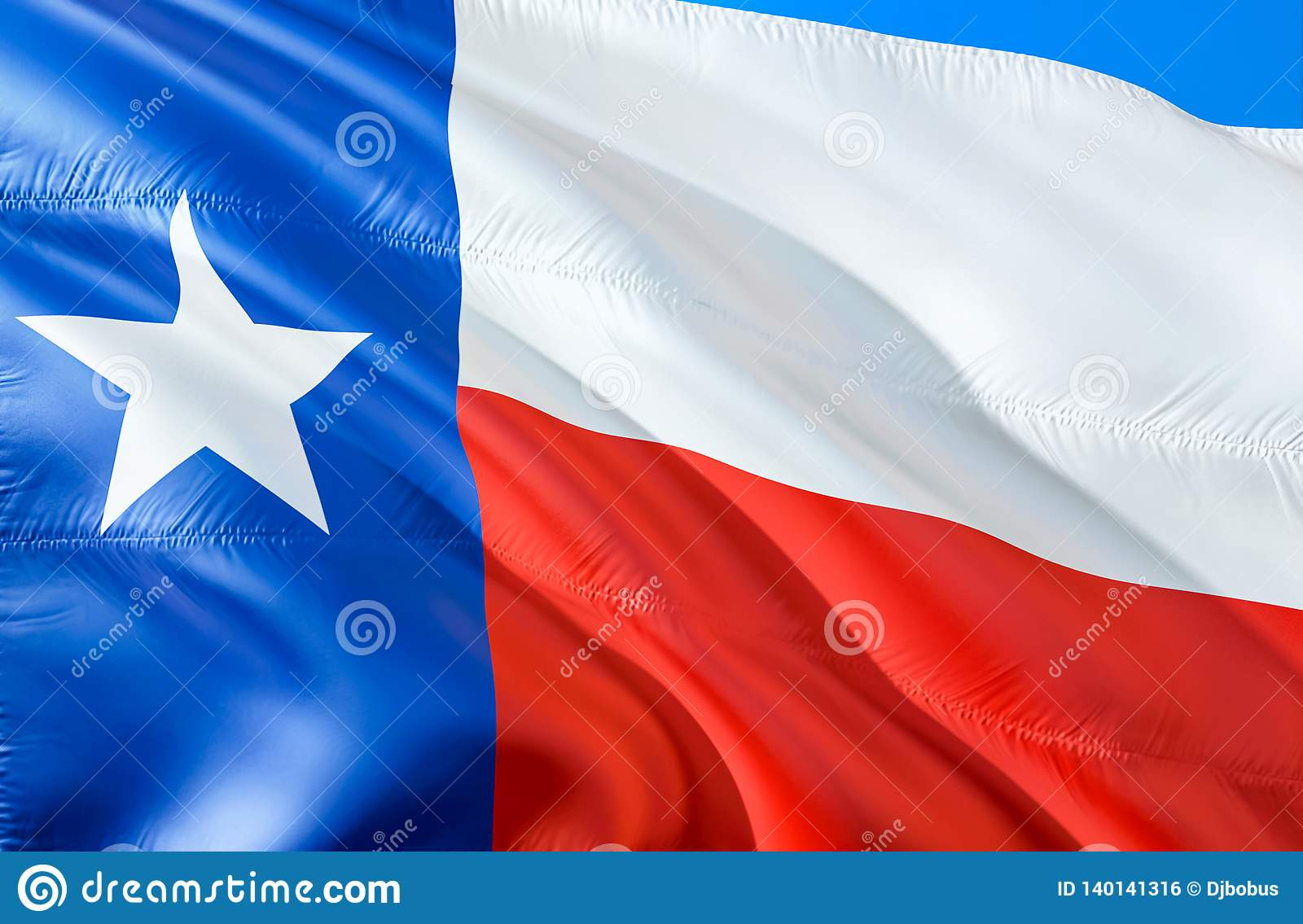 Texas flag. 3D Waving USA state flag design. The national US symbol of Texas state, 3D rendering. National colors and National