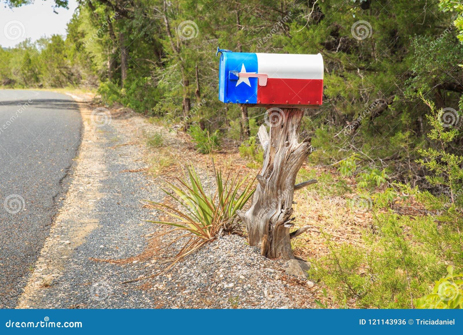 Texas Flag Mailbox op een Boomstomp