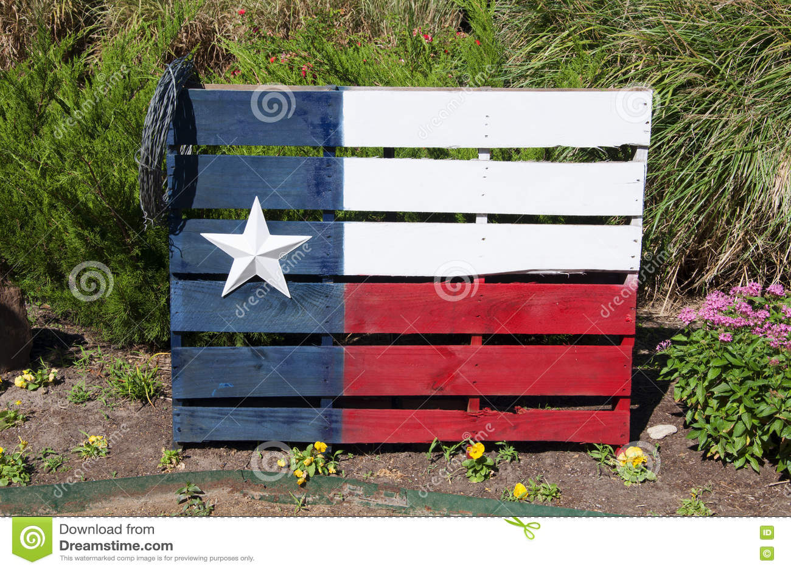 Texas Flag Painted On en träpalett