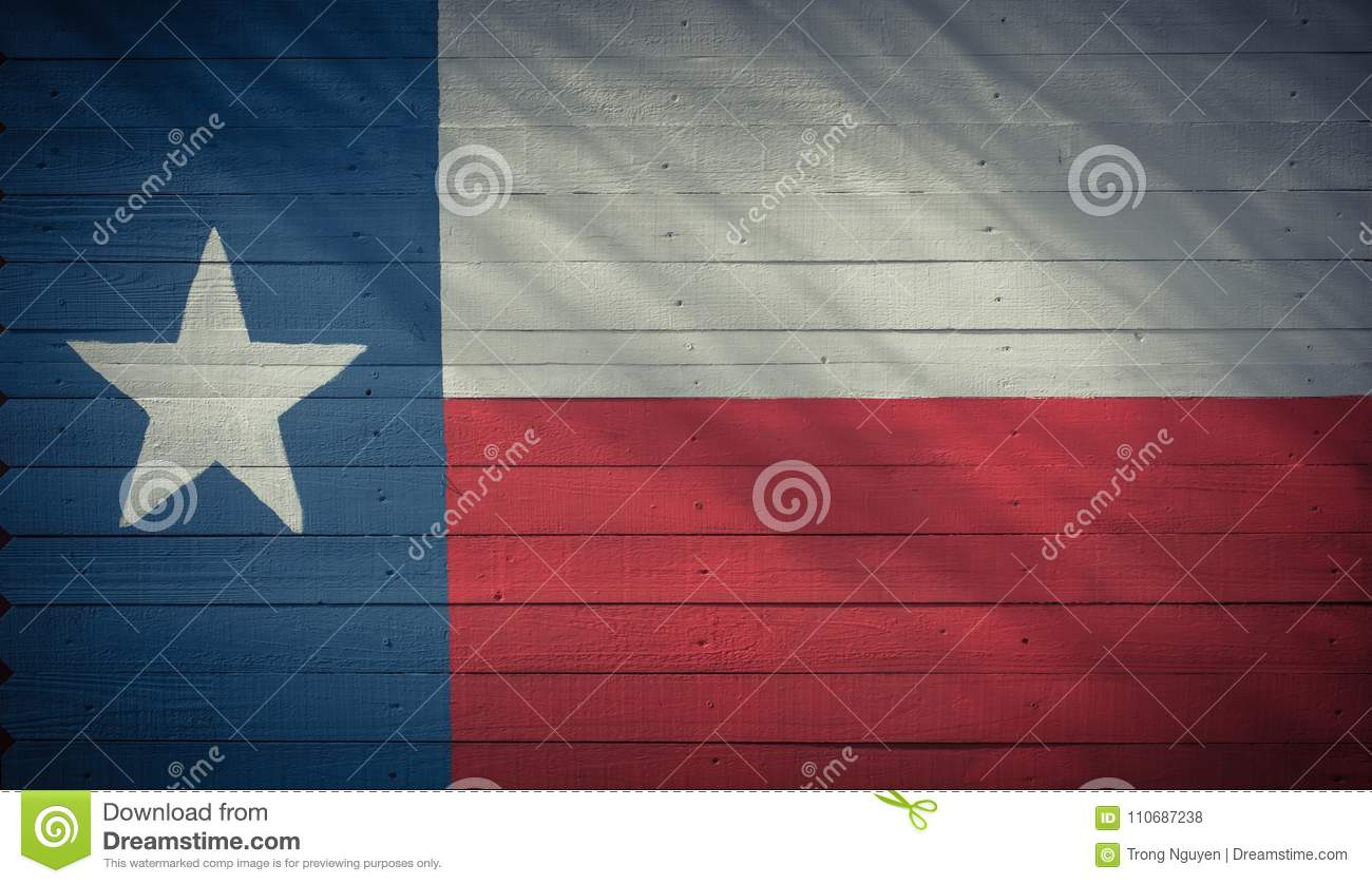 Texas flag pattern on wooden board texture