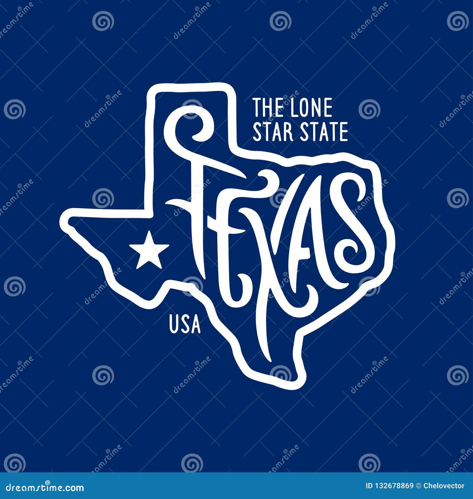 Texas gällde t-skjorta design det ensamma stjärnatillståndet Tappningvektorillustration