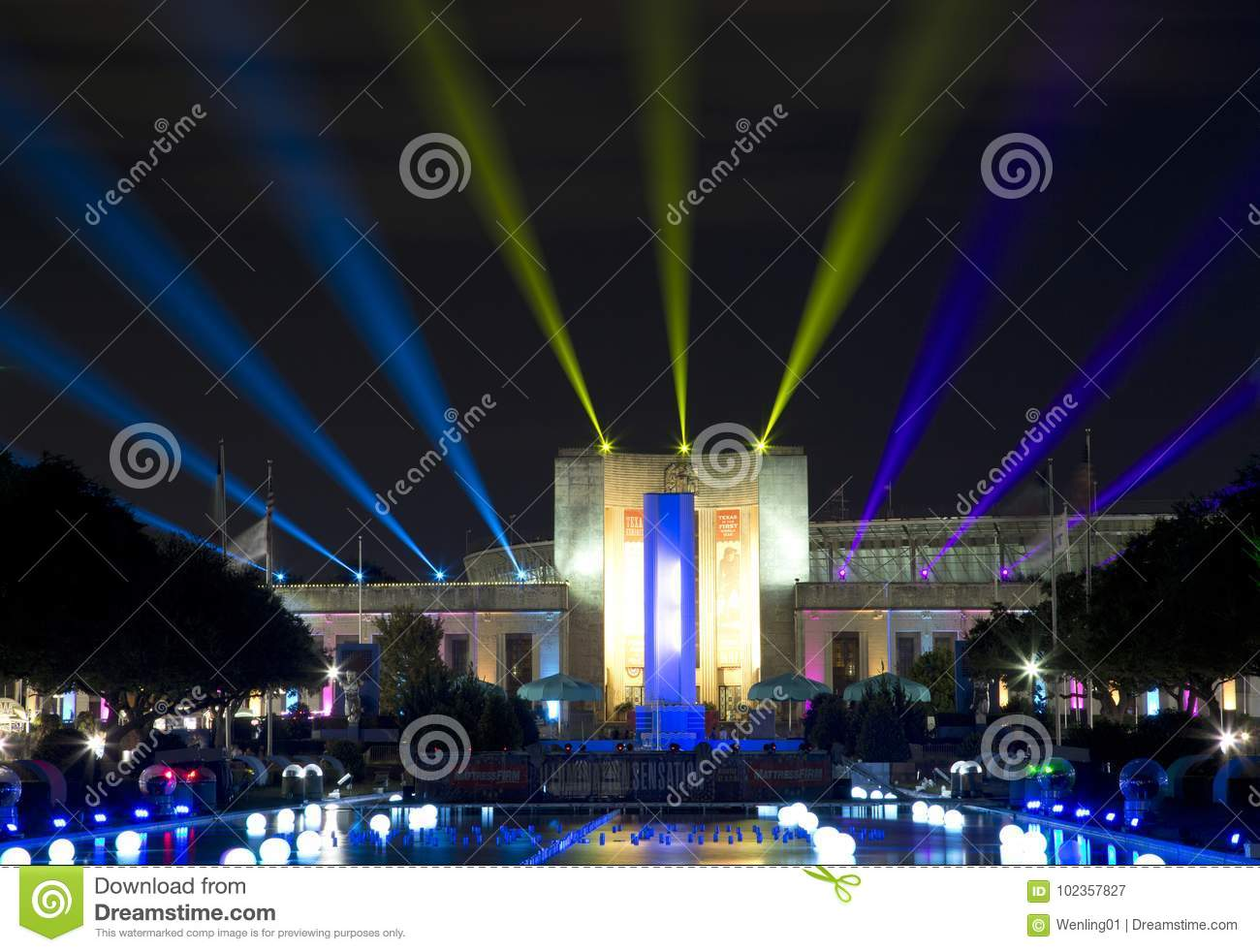 Download Texas Hall Of State And Esplanade Lit Up At Night Dallas Editorial  Photography   Image