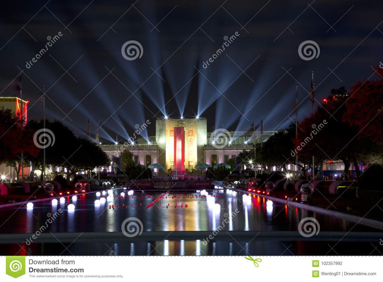 Awesome Download Nice Texas Hall Of State And Esplanade Lit Up At Evening Editorial  Photography   Image Images