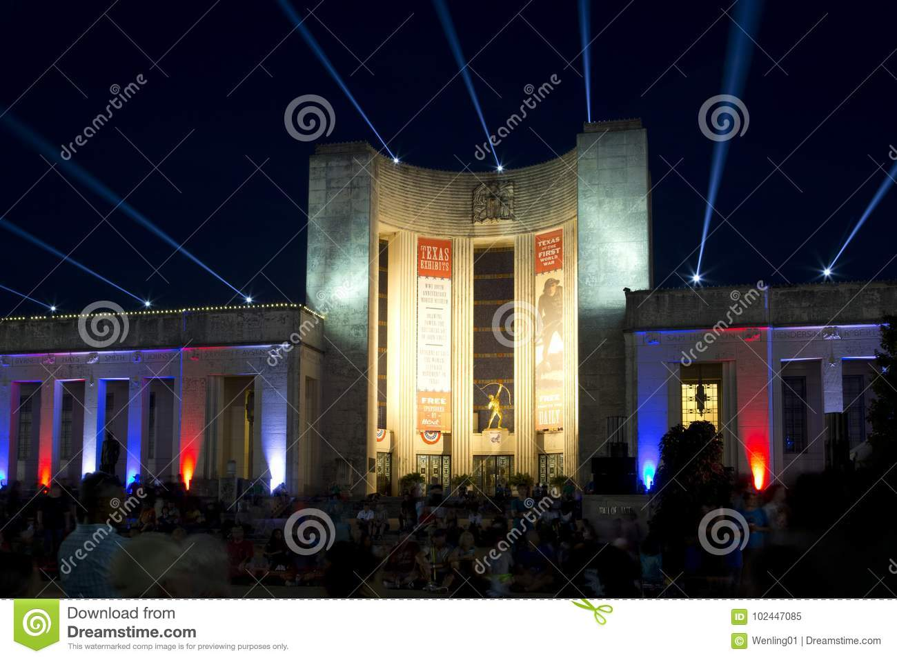Download Texas Hall Of State In Dallas Fair Park Night Editorial Image    Image Of Symbol Ideas
