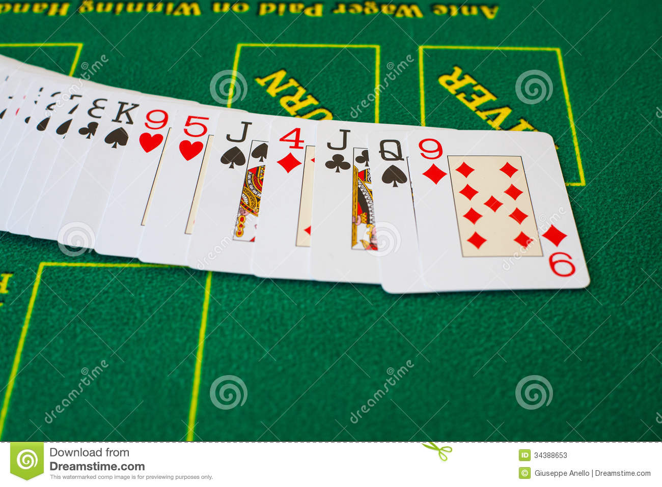 French cards for Texas hold 'em ion casino table.