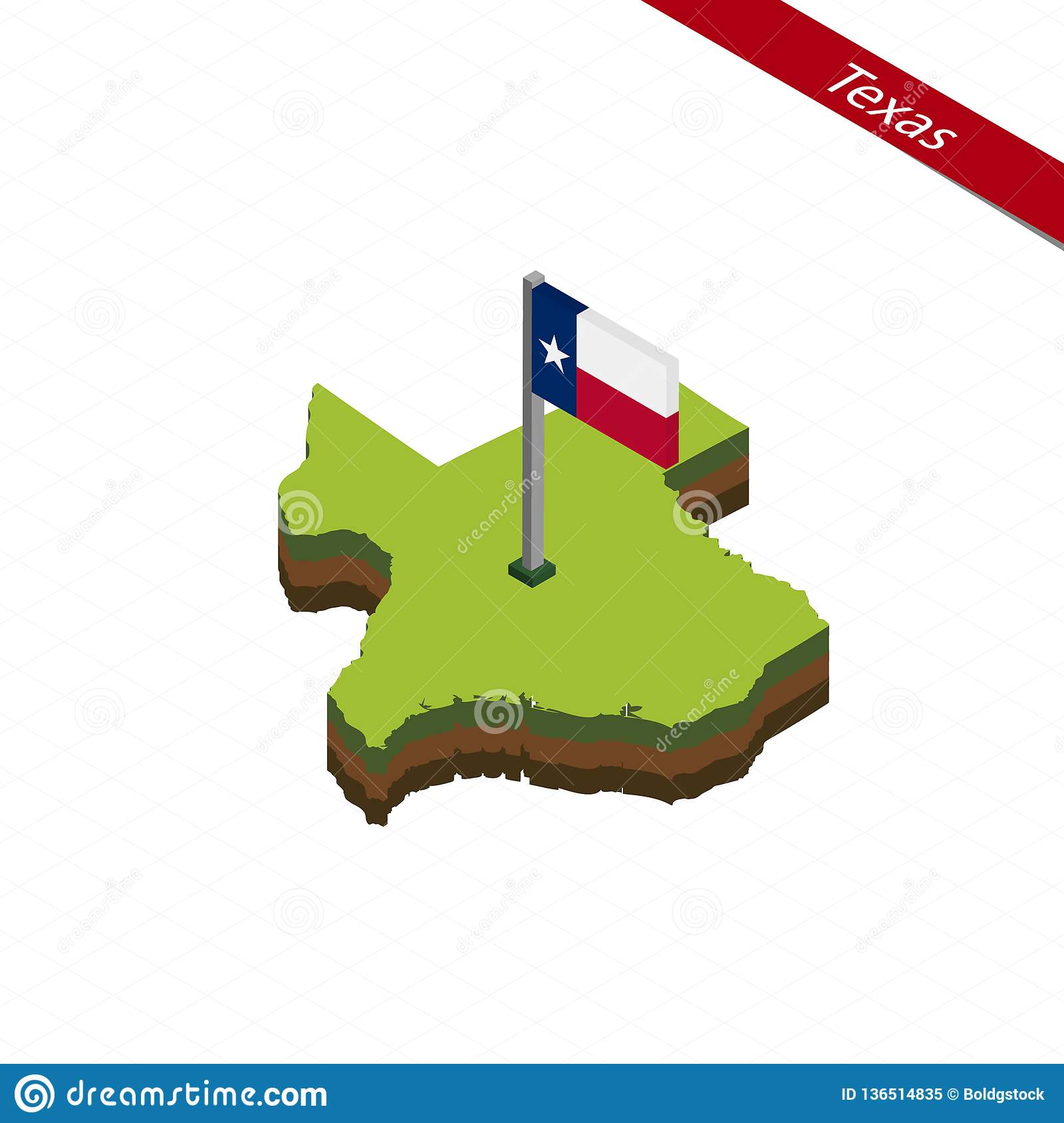 3d Map Of Texas.Texas Isometric Map And Flag Vector Illustration Stock Vector