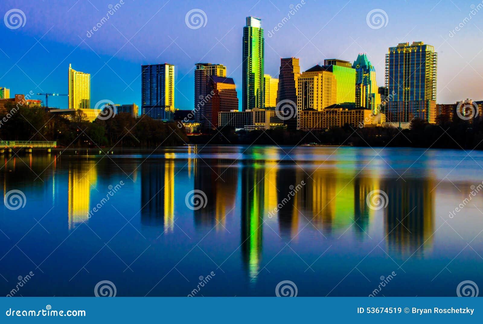 Texas Magical Skyline Reflection Austin centrale il Texas