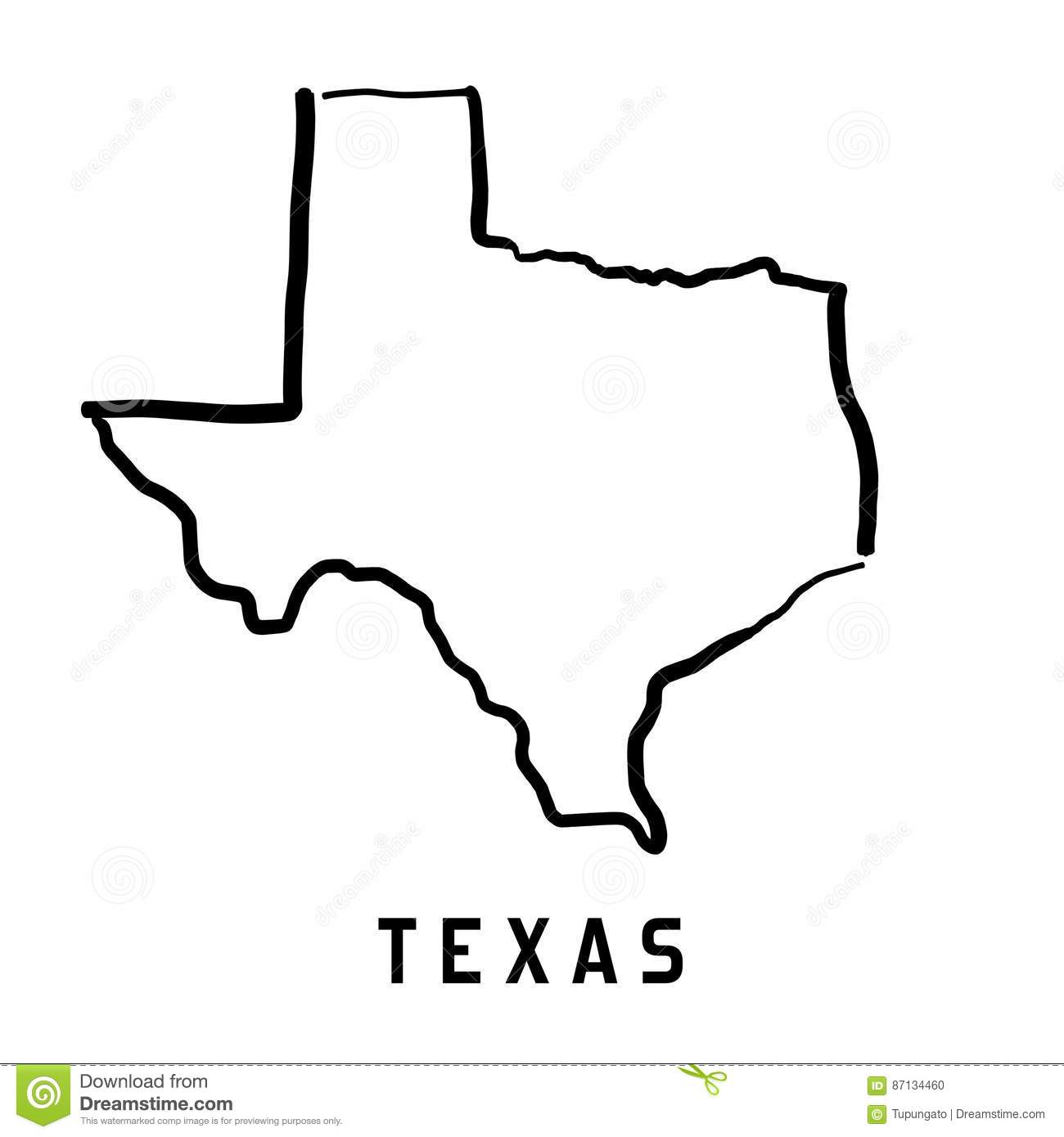 Texas Texas Map Outline Smooth Simplified Us State Shape