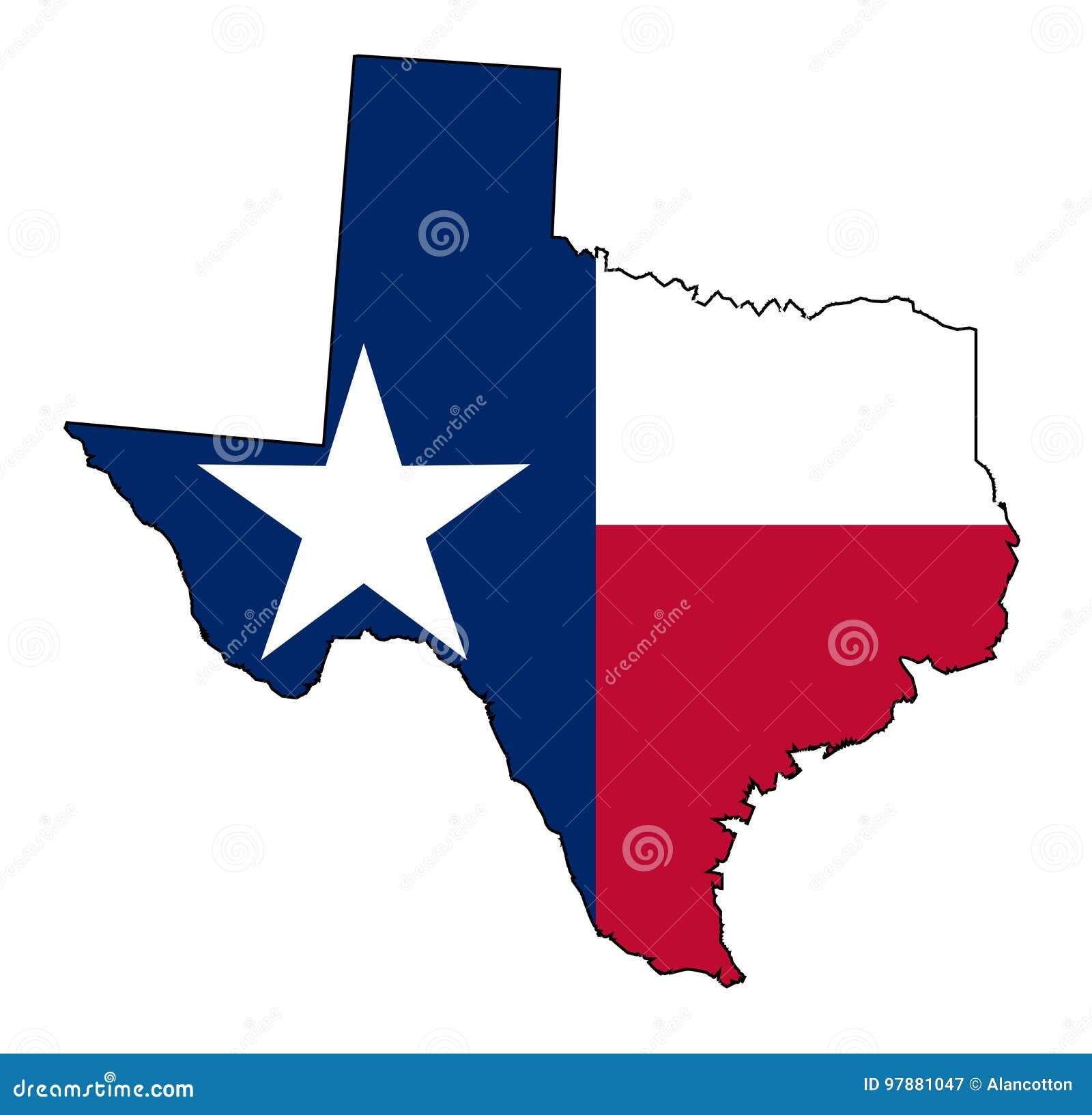 Texas Map Outline Und Flagge Vektor Abbildung - Illustration von ...
