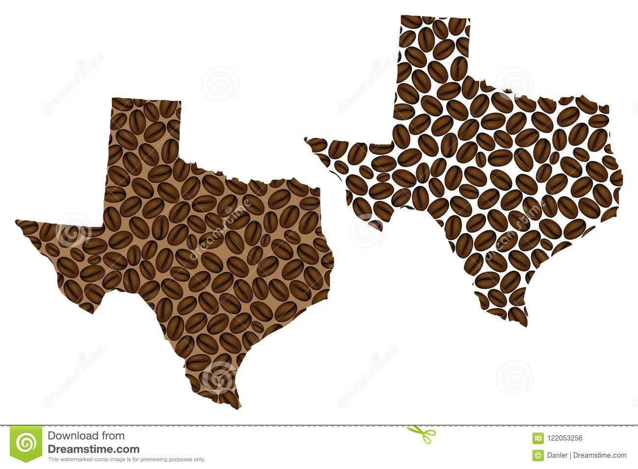 Texas - mapa do feijão de café