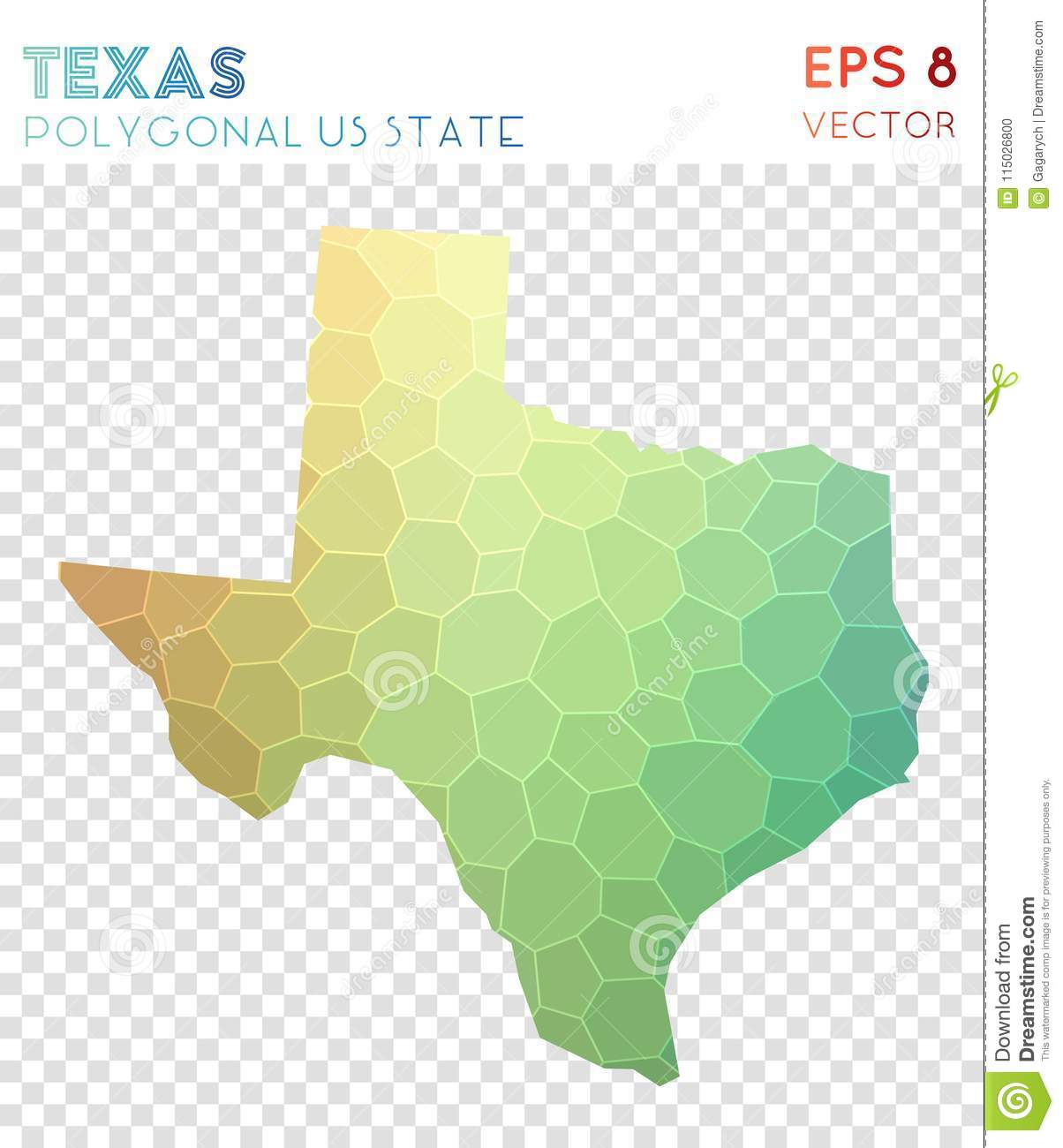 Download Texas Polygonal Map, Mosaic Style Us State. Stock Vector    Illustration Of Diamond