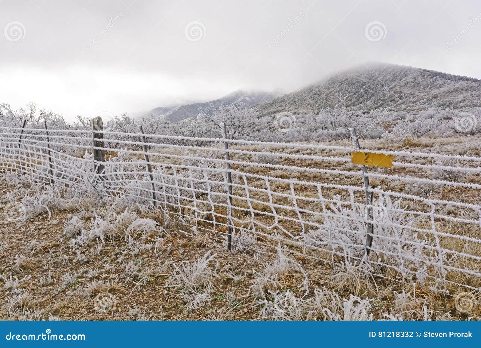 Texas Ranch em uma tempestade de gelo