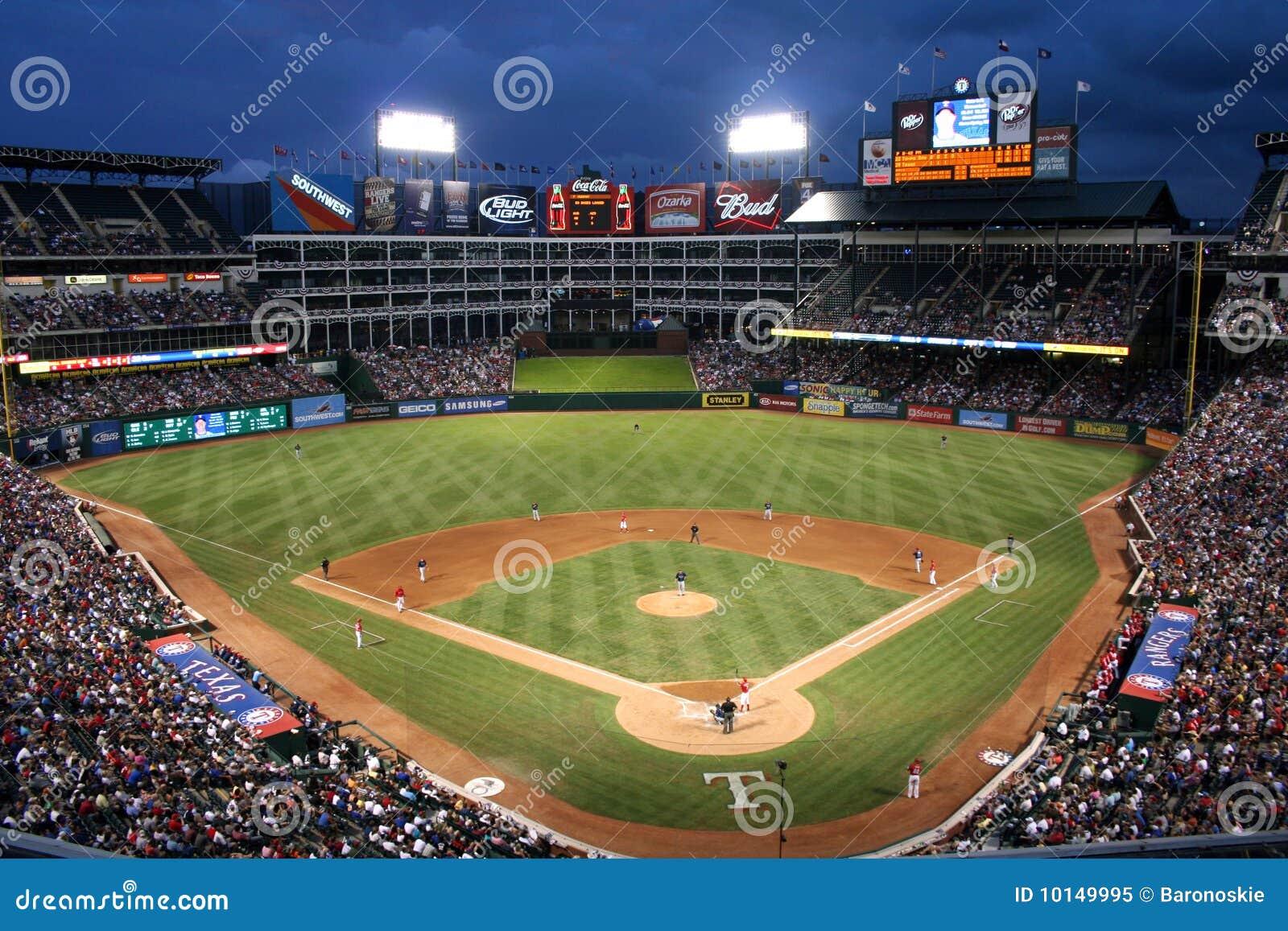 texas rangers baseball game at night editorial image